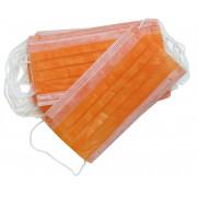 Маски медицинские трехслойные 50шт. цвет оранжевый