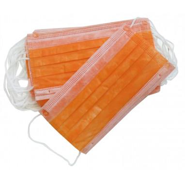 Маски трехслойные  50шт.(в пакете) цвет оранжевый