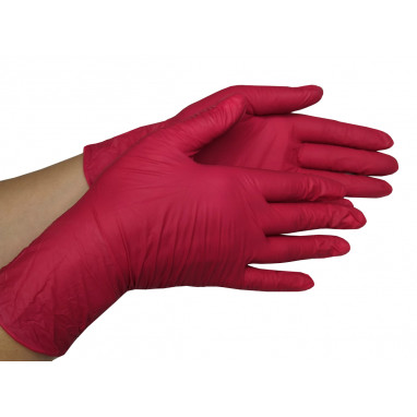 Перчатки нитриловые 10 пар/уп. красные