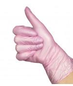 Перчатки нитриловые перламутровые Benovy 50 пар, цвет розовый