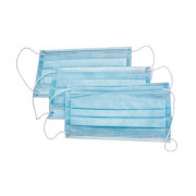 Маски медицинские трехслойные 10шт. цвет голубой