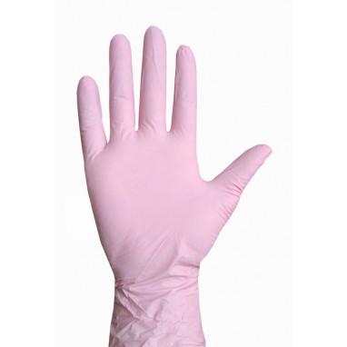Перчатки нитриловые 50 пар, цвет розовый